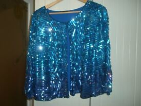 sequined jacket in shades of blue