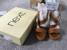 Tan wedges size 5 from NEXT hardly worn boxed
