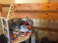 High sleeper single bed with desk