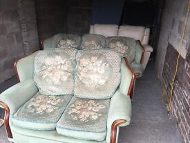 PAIR OF 3 AND 2 SEATER SOFAS IN GREEN FABRIC,DELIVERY AVAILABLE
