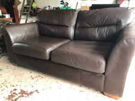 2 seater Marks and Spencer leather sofa.