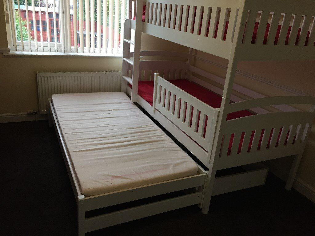 For SaleTriple 3ft White Wooden Bunk Bed With Mattresses & Storage