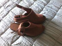 Ladies tan wedge shoes