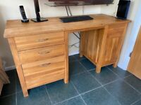 Solid Oak Home Office Desk with drawers, cupboard and filing cabinet