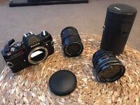 Konica Autoreflex TC Camera + Two Lenses