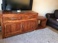 Solid wooden sideboard and cube/lamp table
