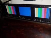 """Marshall Electronics V-R53P-SDI Rack Mountable Triple 5"""" LCD Monitor"""
