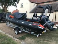 Delta 6.5 m RIB twin outboards, rescue dive safety or work boat