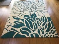 Large Modern Rug - in Teal & Cream
