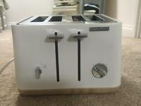 Morphy Richards white and wood Aspects toaster