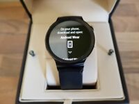Huawei W1 Android Wear Smart Watch Brushed Steel Black with Leather Strap