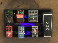 Pedalboard with guitar fx pedals and power supply