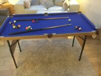"Pool Table 55"" Long 29"" Wide 31"" High Ideal kids Present Foldaway Legs Cues Balls Included"