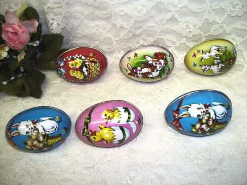 Lot of Six Vintage Tin Easter Eggs Chicks Lambs and Bunnies