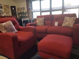 3 seater sofa, chair and footstool