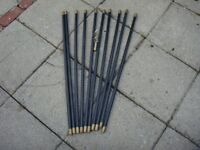Set of 10 Brass Jointed Drain Rods with Double Worm Screw; Maximum length 30ft; Hardly Used Like New