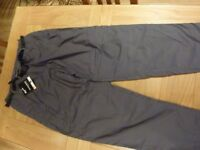 NEW CRAGHOPPER WINTER LINED KIWI TROUSERS IN GREY, 42 INCH WAIST AND LONG LENGTH