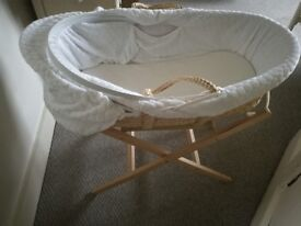 Clair de Lune moses basket, stand and all bedding