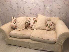 Beautiful cream 3/4 seater sofa fully washable