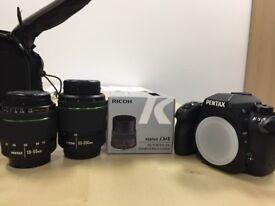 Pentax K5 w/lenses, 18-55mm, 50-200mm, 35mm F2.8 Macro & Lowepro bag