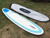 """Surfboard for sale - 7'6"""" long NSP Surf Betty with leash & carry bag - Used only once"""