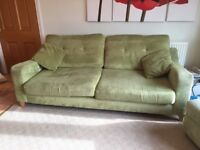 Lime green chenille 3 seater sofa with matching hinged top footstool for storage