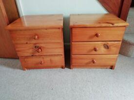 2 x 3 Drawer Pine bedside cabinets