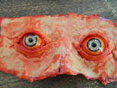 Halloween Eyes Animation (HALLOWEEN PROP - Life Size Eyes of Fear bloody skin cut off face)