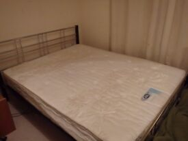 Queen sized metal bed frame and mattress