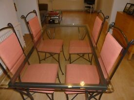 Immaculate Iron and Glass dining table & 4 chairs made in UK at Millside Forge