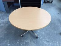 CIRCULAR BEECH FOLDING PORTABLE TABLE, MEETING, CONFERENCE, ON CASTORS