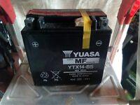 Motorbike battery YUASA MF YTX14-BS unused.