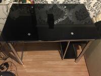 Black glass desk + chair