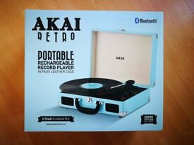 Portable retro Vinyl record player with bluetooth speaker
