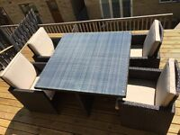 Large 8 Seater Rattan Garden Cube Set. Table, Chairs & Stools.