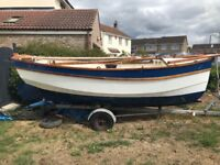 Classic boat sail boat wooden jollyboat