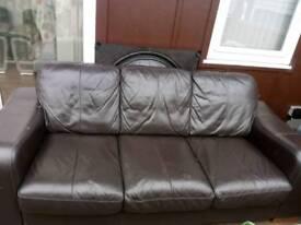 Brown 3 seat leather sofa