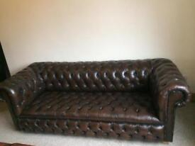 Beautiful 3 Seater Full Button Chesterfield Brown Leather Sofa