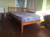 Pine Double bed with two mattresses and an almost new foam mattress