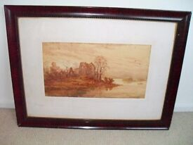 1887 Framed Watercolour Painting by A Coleman of Lake View at Dusk