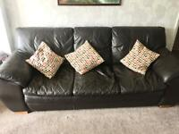 Three piece Dark Brown Leather DFS sofa
