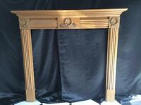Period Solid carved Pine Fireplace Surround.