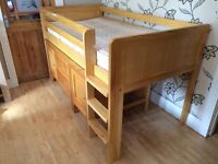 PINE IKEA SINGLE MID SLEEPER WITH CUPBOARD DESK AND MATTRESS