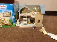 Sylvanian Family Bluebell Cottage, including some characters and furniture