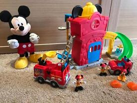 Mickey Mouse Story teller and Fire station with lights and sounds toy bundle