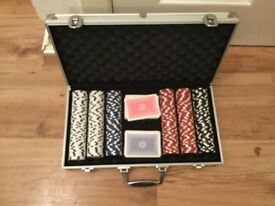 Poker set in metal case