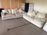 CLEARANCE BARGAIN!! --- 2 x Three Seater Cream Cushioned Sofa/Settee