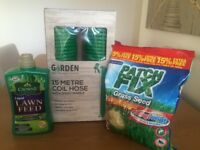Brand New, Never Used 15 Metre Garden Coil Hose, Liquid Lawn Feed & Grass Patch Fix