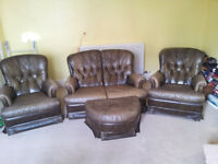 Leather 3 Piece Suite - 2 Seater Sofa, 2 Chairs & Footstool