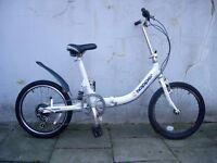 Folding Bike by Hopper, White, Light Aluminium Frame,JUST SERVICED/CHEAP PRICE!!!!!!
